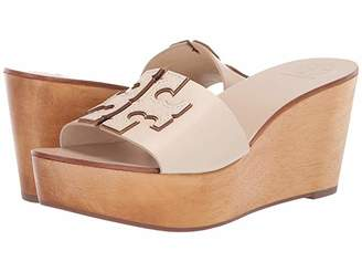 Tory Burch 80 mm Ines Wedge Slide (New Cream/Gold) Women's Shoes