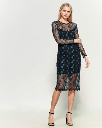 Dress the Population Lace Overlay Midi Dress