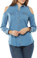 Peter Nygard Cold Shoulder Button Front Blouse
