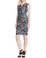 Teri Jon Metallic Print Surplice Dress