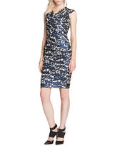 Teri Jon Off-Shoulder Printed Sheath Dress