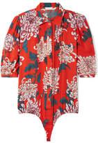 Fleur Du Mal Pintucked Printed Silk-crepe Thong Bodysuit - Red