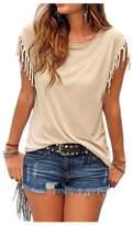 ARJOSA Women's Cotton Tassels Short Sleeve Crewneck Casual T-Shirt (XL, )
