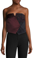 Zac Posen Embroidered Panel Colorblocked Bandeau Top