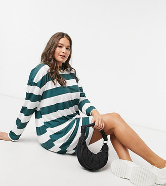 ASOS DESIGN Curve long-sleeved mini T-shirt dress in forest green and white stripe