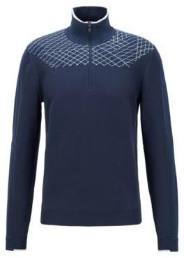 HUGO BOSS Zip Neck Sweater With Placement Graphic Pattern - Dark Blue