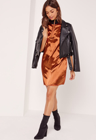 Missguided Rib Neck Satin Shift Dress Orange
