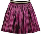 Gucci Kids' Pleated Silk-Blend Lamé Skirt