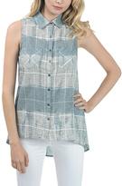 Bow & Arrow Gray Tie-Dye Denim Sleeveless Button-Up