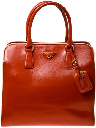 Prada Orange Saffiano Metal Leather Satchel
