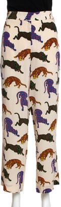 Stella McCartney Cream Wild Cat Printed Silk Elasticized Waist Christine Pants M