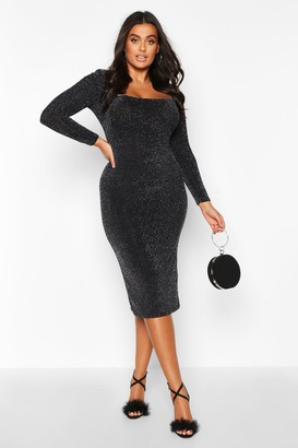 boohoo Plus Shimmer Glitter Square Neck Longsleeve Midi Dress