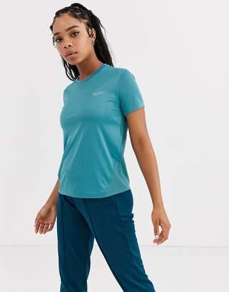 Nike Running miler short sleeve top in teal blue