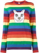 Loewe cat rainbow stripe intarsia sweater - women - Viscose/Virgin Wool/Metallized Polyester - S