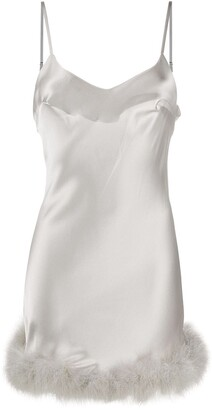 Gilda & Pearl Feather-Trimmed Satin Cami Dress
