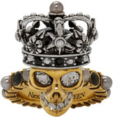 Alexander McQueen Gold and Silver King Skull Ring