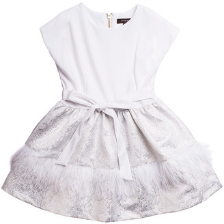 Imoga Tamara Feather Trim Jacquard Dress