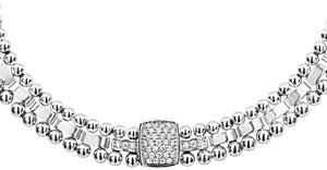 Lagos Sterling Silver Caviar Spark Diamond Station Collar Necklace, 18