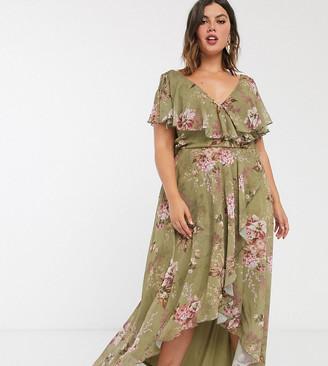 Asos DESIGN Curve cape back dipped hem maxi dress in floral print