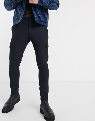 ASOS EDITION super skinny cargo trousers in blue