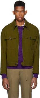 Ami Alexandre Mattiussi Green Virgin Blouson Shirt Jacket
