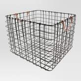 Threshold Wire Large Straight Milk Crate - Antique Pewter with Copper Handle