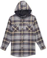 Burnside Light Gray Flannel Button-Up Hoodie - Boys