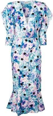 The Attico Floral Print Button Dress