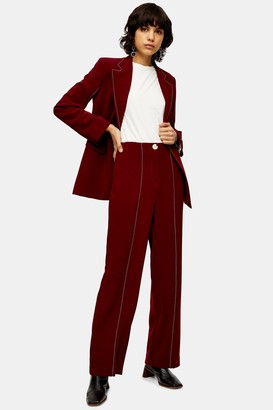 Topshop Burgundy Slouch Trousers