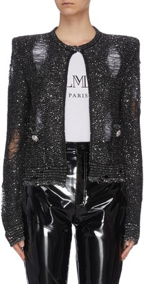 Balmain Distressed collarless sequin jacket
