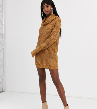 Brave Soul Tall soda cowl neck sweater dress in spiced camel