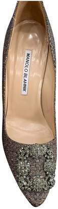 Manolo Blahnik Hangisi Gold Tweed Heels