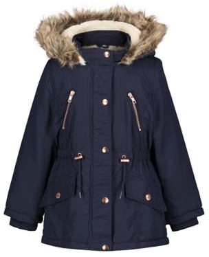 George Navy Faux Fur Shower Resistant Parka