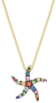 Effy 14K Yellow Gold & Crystal Starfish Pendant Necklace