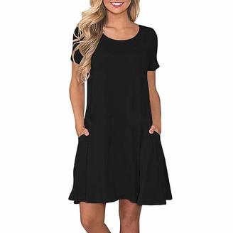 KUKICAT Women Long Sleeve Ruffle with Pocket T-Shirt Dress Round Neck Casual Loose Straight Knee-Length Dress (L