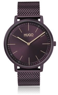 HUGO Purple-plated stainless-steel watch with mesh bracelet
