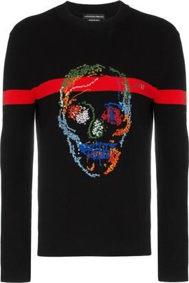 Alexander McQueen skull embroidered intarsia jumper