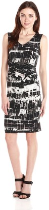 Andrew Marc Women's Sleeveless Printed Jersey Sheath Dress