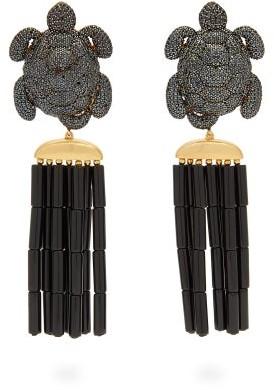 BEGÜM KHAN Caretta Napoleon 24kt Gold-plated Clip Earrings - Black
