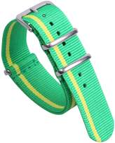 AUTULET Green/Yellow Colorful Classic Breathable Men's One-piece NATO style Nylon Watch Bands Straps