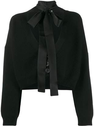RED Valentino cropped tie neck cardigan