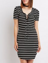 Charlotte Russe Striped & Ribbed Lace-Up Dress
