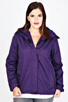 Yours Clothing Purple Waterproof Rain Jacket With Removable Hood