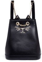 Charlotte Olympia 'Petit Feline' cat face calfskin leather backpack