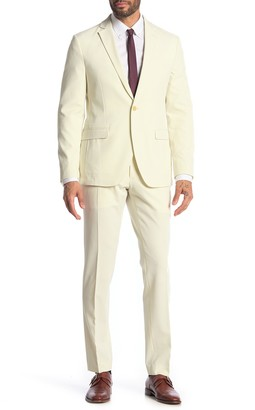 Savile Row Co Pearson Beige Seersucker One Button Notch Lapel Skinny Fit Suit
