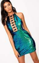PrettyLittleThing Green Sequin Ring Detail Bodycon Dress