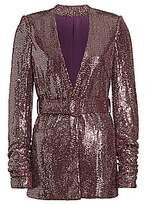 Badgley Mischka Women's Sequin Belted Jacket