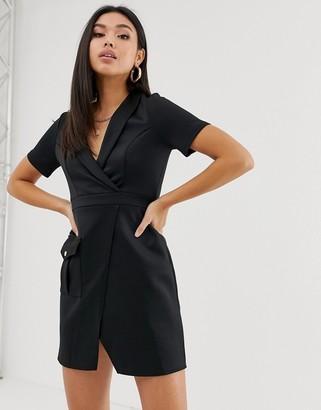 Asos Design DESIGN safari dress with pocket-Black