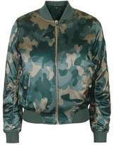 Petite shiny camo print ma1 bomber jacket
