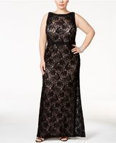 Night Way Nightway Sequined Lace A-Line Gown